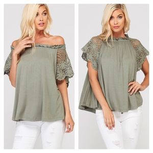 Tops - Marlena Lace Crochet Contrast Top